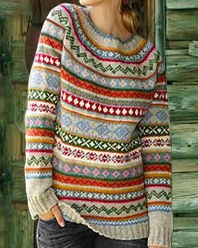 Color-Block Crew Neck Long Sleeve Geometric Sweater