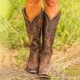 Bohemia Cowgirl Boots Medium Heel Retro Boots