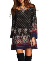 Plus Size Bohemian Ethnic O-Neck Long Sleeve Mini Dresses For Women