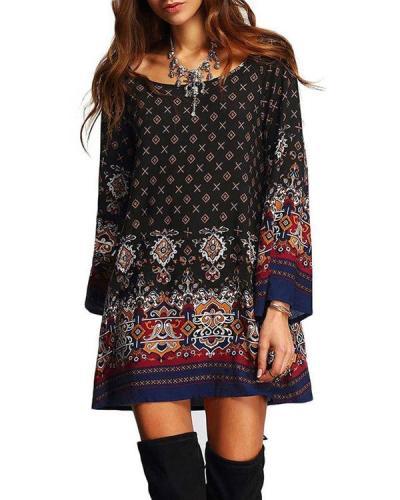 Plus Size Bohemian Ethnic O-Neck Long Sleeve Mini Dresses For Women