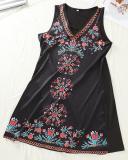 Tribal Print V Neck Sleeveless Casual Dress
