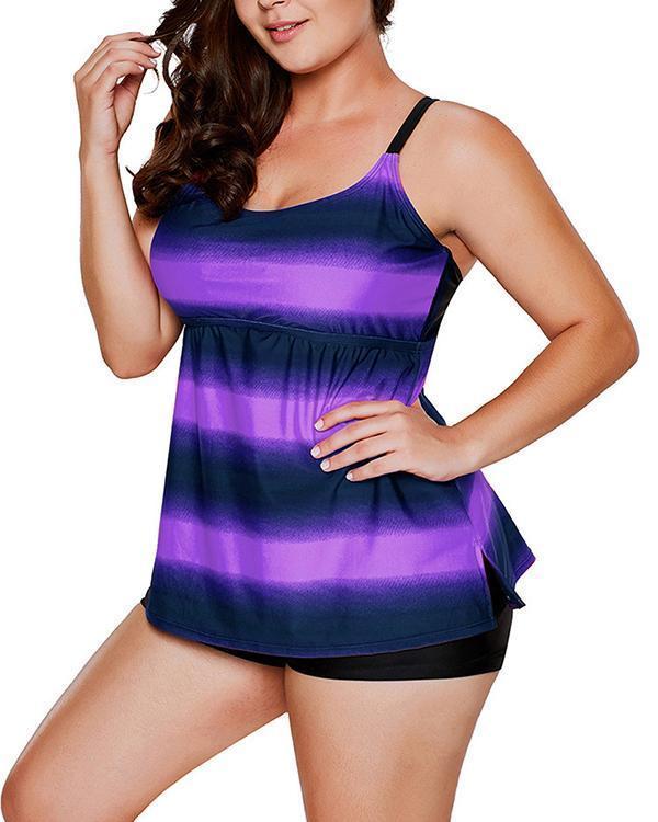 Gradient Plus Size Tankini Swimsuit