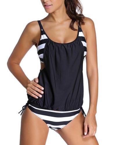 Splicing Strap Sexy Tankini Swimsuit