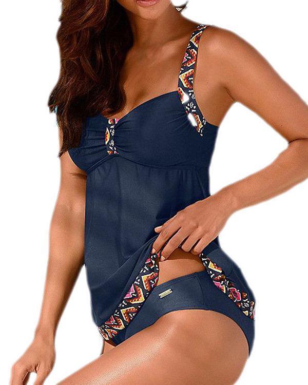 Geometric Print Casual Tankini Swimwear