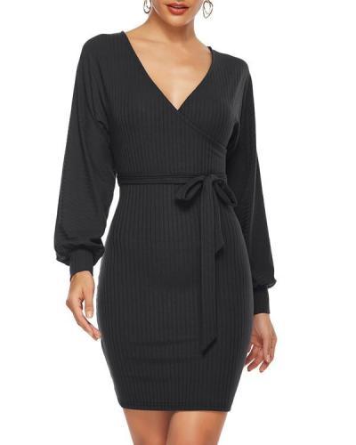 Knitted V-neck Women Midi Dress
