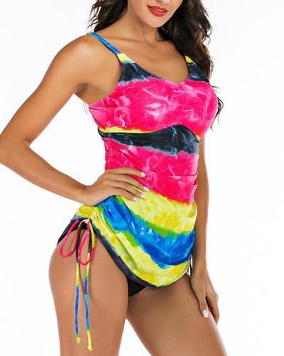Splice color Strap V-Neck Vintage Tankinis Swimsuits