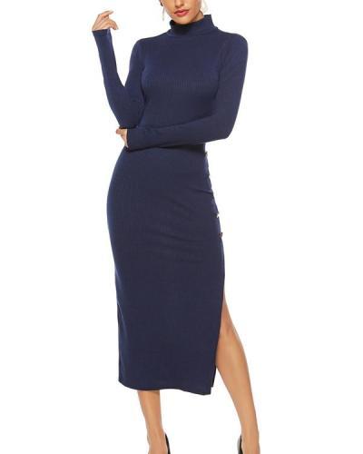 Solid Color Long Sleeve Plus Size Dress Leisure Fashion