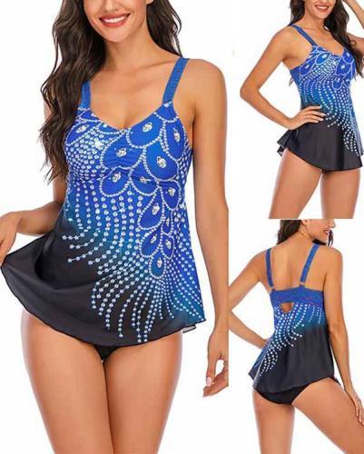 Feather Print Split Plus Size Tankini Swimsuit