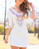 Vintage Boho Floral Printed Plus Size Half Sleeve V Neck Casual Dresses