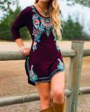 Long Sleeve Floral Crew Neck Embroidered Dresses