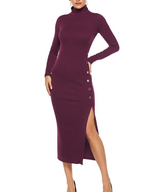 Solid Color Long Sleeve Plus Size Dress Leisure Fashion