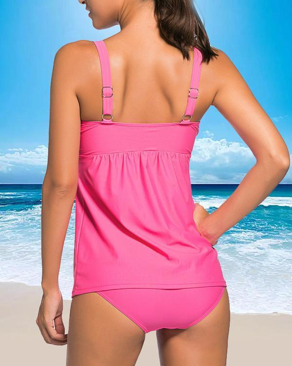 Solid Color Triangle Strap Fashionable Plus Size Tankinis Swimsuits