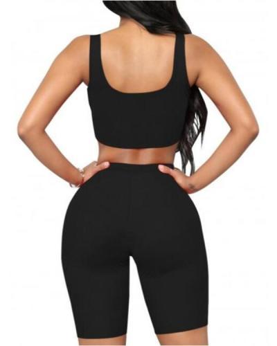 Sporty Sleeveless Yoga Bra High Rise Shorts Elasticity