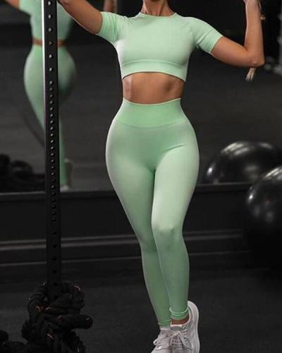 Appealing Short Sleeves Sweat Suit Seamless For Fitness