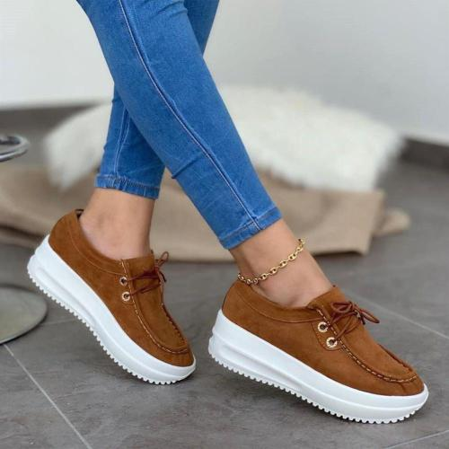 Women Lace Up Comfy Sole Loafers
