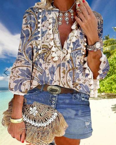 Boho Floral Print Casual Shirts Blouses