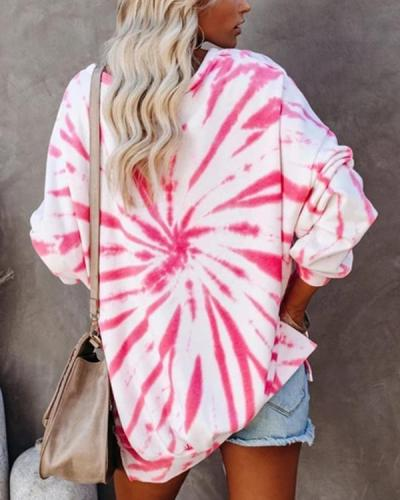 Women Tie Dye Print Long Sleeve Sweatshirt