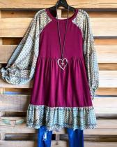 Women Print Long Sleeve Loose Casual Dress