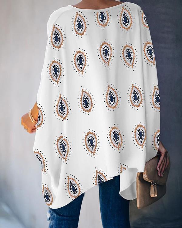 Women Print Half Sleeve Loose Blouses