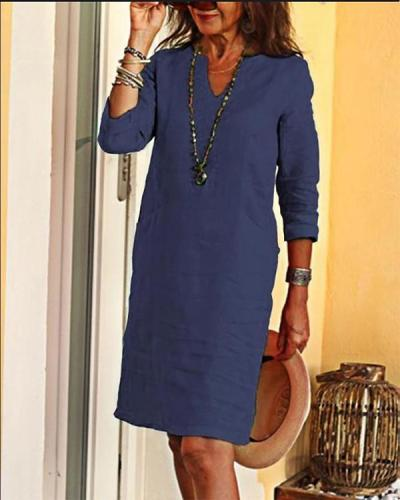Casual Solid Tunic V Neckline Shift Dress