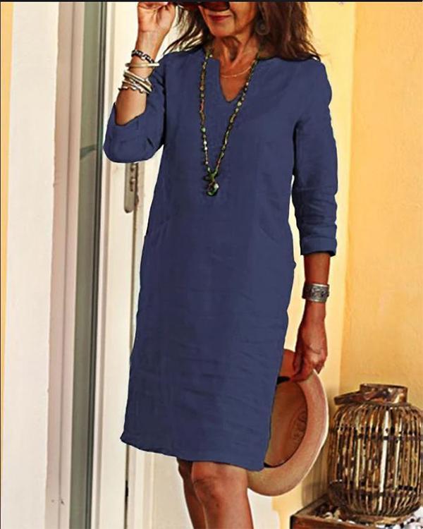 Casual Solid Tunic V Neckline Shift Dress