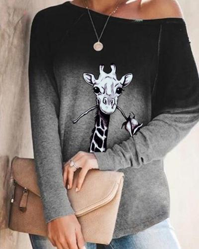 Autumn Ombre Animal Print Long Sleeve Loose T-Shirt