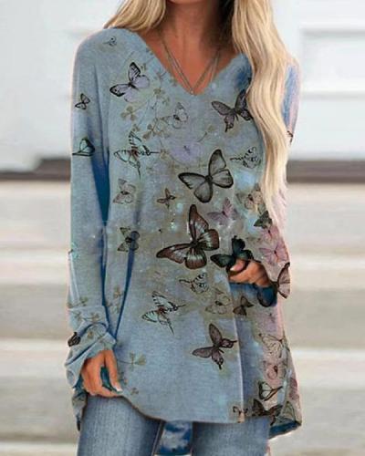 Autumn Butterfly Printed V Neck Slim T-shirt
