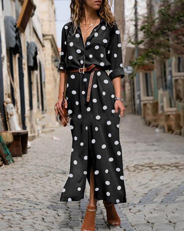 Polka Dot Print Women Casual Midi Dress