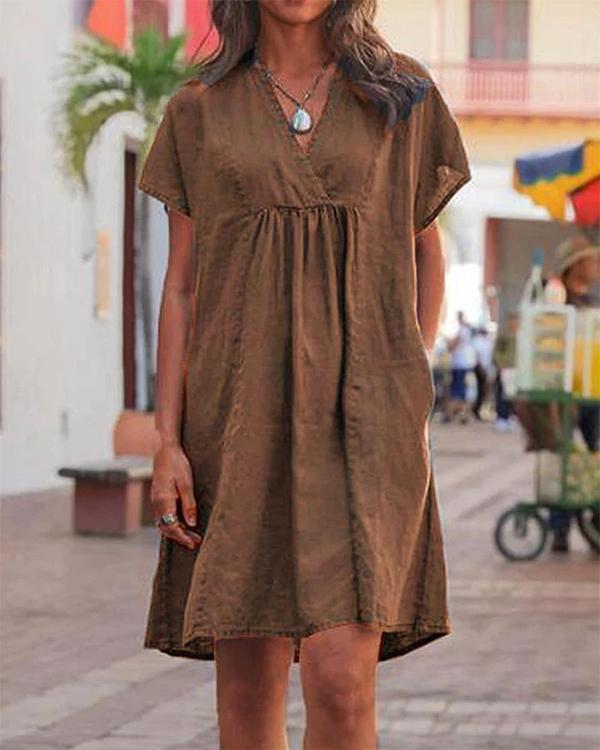 Casual V Neck Solid Woman Linen Dresses