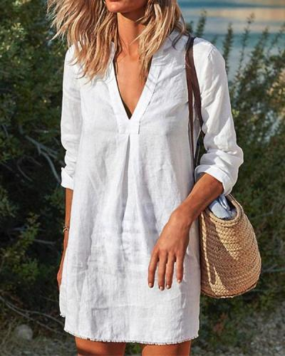Women Vintage Casual V Neck Solid Linen Dresses