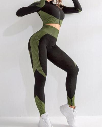 Incredibly Thumbhole Zipper Contrast Color Yoga Suit For Training