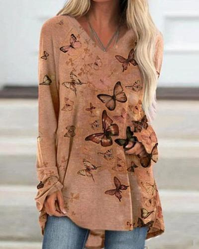 Autumn Butterfly Printed V Neck Slim T-shirt