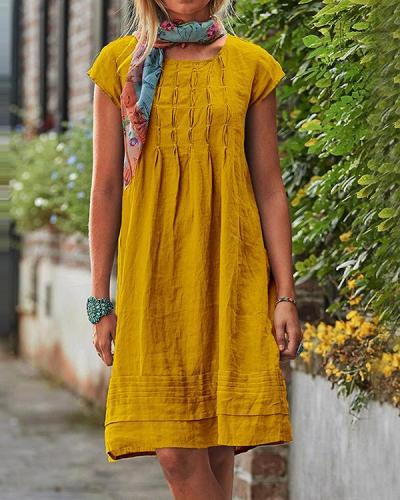 Vintage Casual Solid Linen Women Dresses