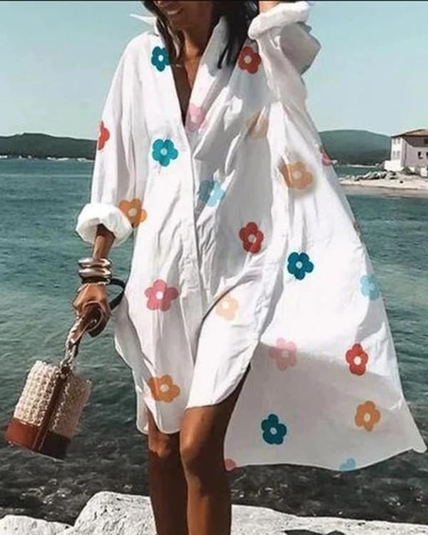 Casual Floral Tunic V-Neckline Shift Dress