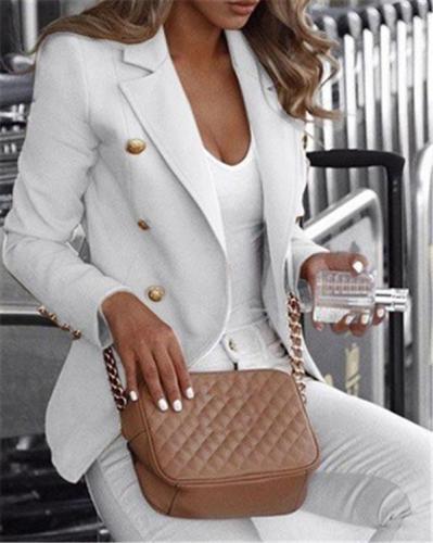 Women's Casual Button Design Suits Fashion Outwear Coat