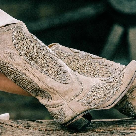 Women's Glitter Inlaid Wings Boots