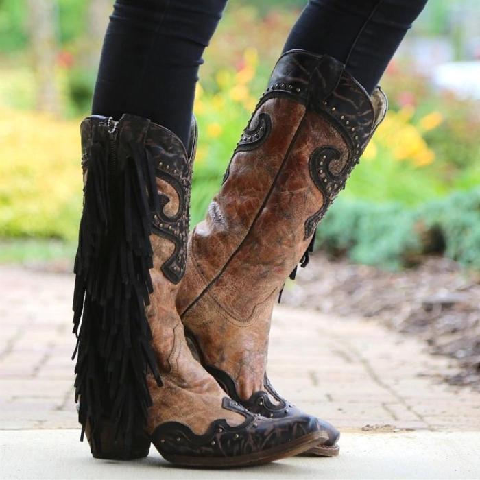 Side Zipper Suded Vintage Boots