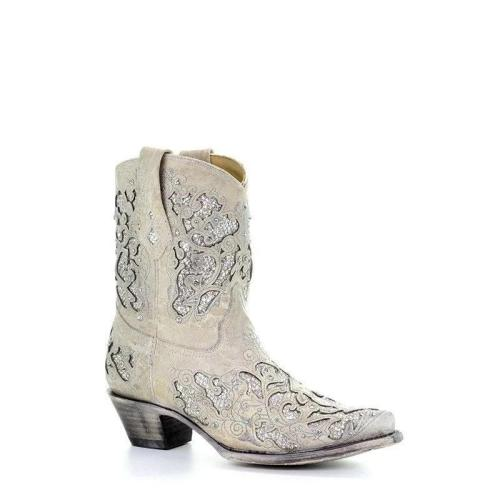White Glitter Inlay & Crystals Ankle Cowgirl Boots