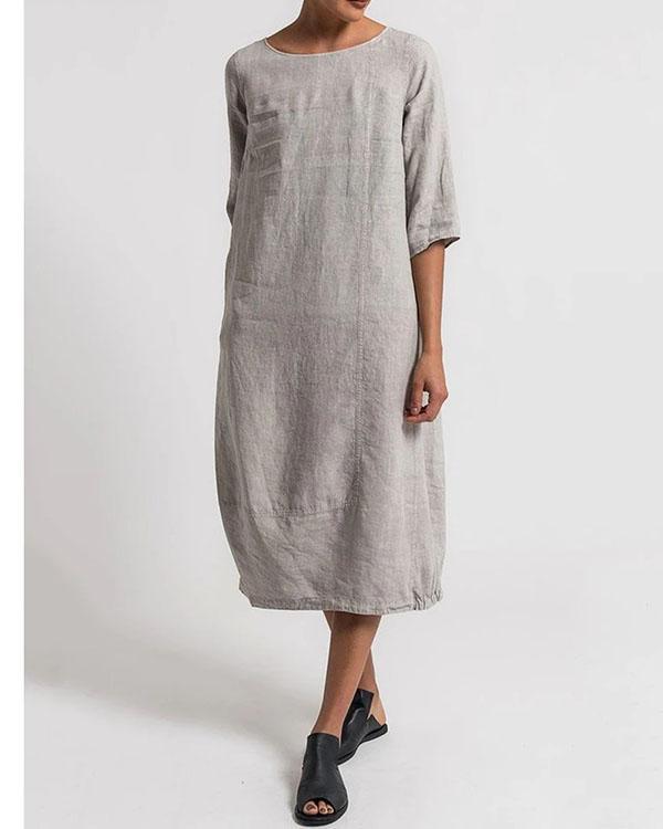 Crew Neck Women Plus Size Dresses Daytime Solid Dresses