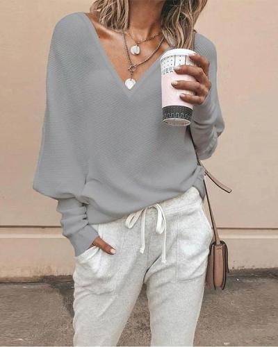 Women Casual V Neck Solid Color Blouses Sweaters