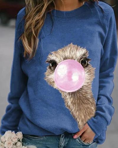 Animal Cute Round Neckline Sweatshirts