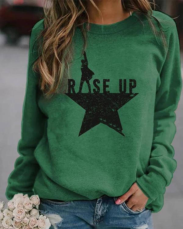 Women Print Casual Round Neckline Sweatshirts