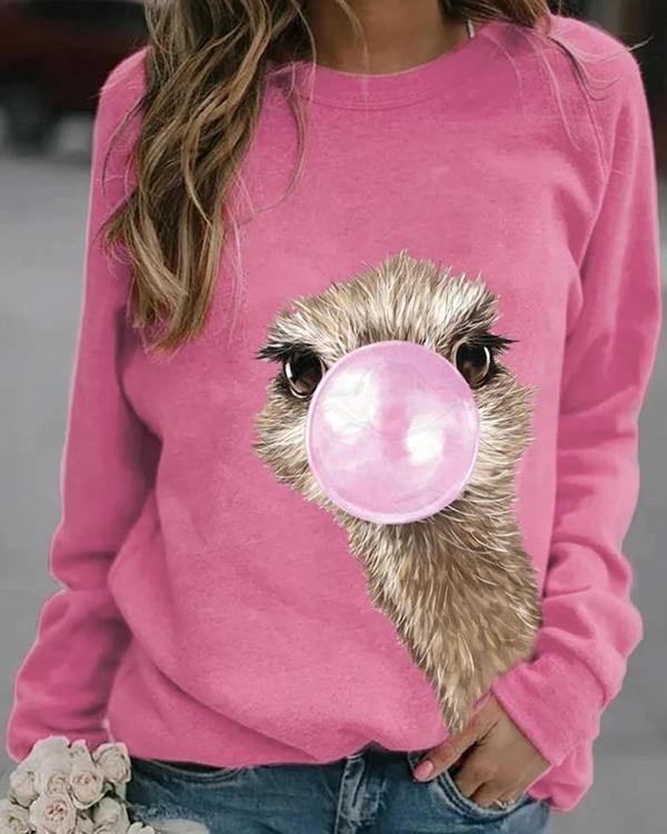 Animal Cute Round Neckline Sweatshirts