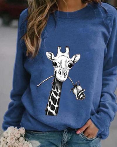 Animal Print Casual Round Neckline Sweatshirts