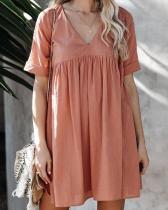 Casual V Neck Daily Fashion Pleated Mini Dresses