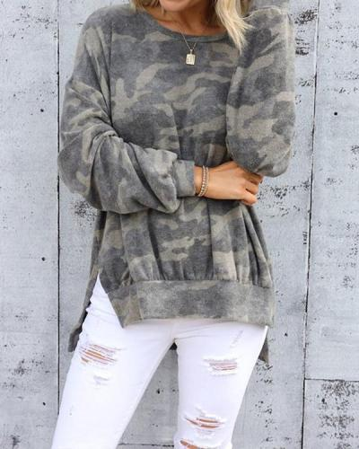Women Casual Camo Print Loose Fit Sweatshirt