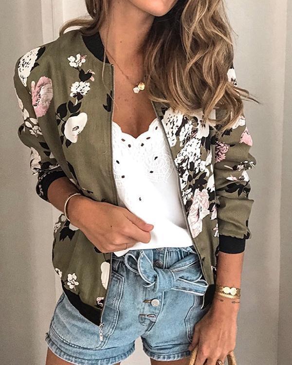 Casual Long Sleeve Floral Print Jacket
