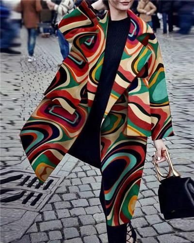 Fashion Turndown Collar Printed Color Long Sleeve Pocket Coat