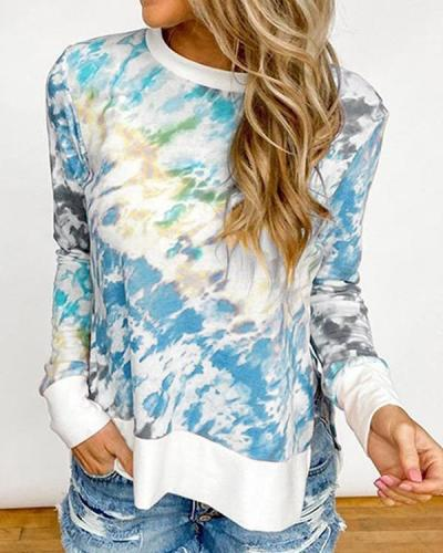 Plus Size Tie Dye Casual Round Neck Daily Shirt Sweatshirt