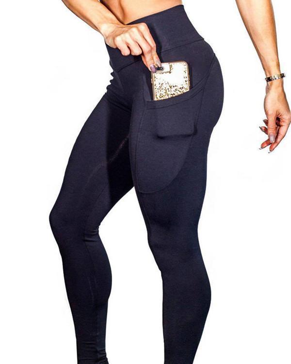 Stretchy Black High Rise Yoga Leggings Full Length Female Charm